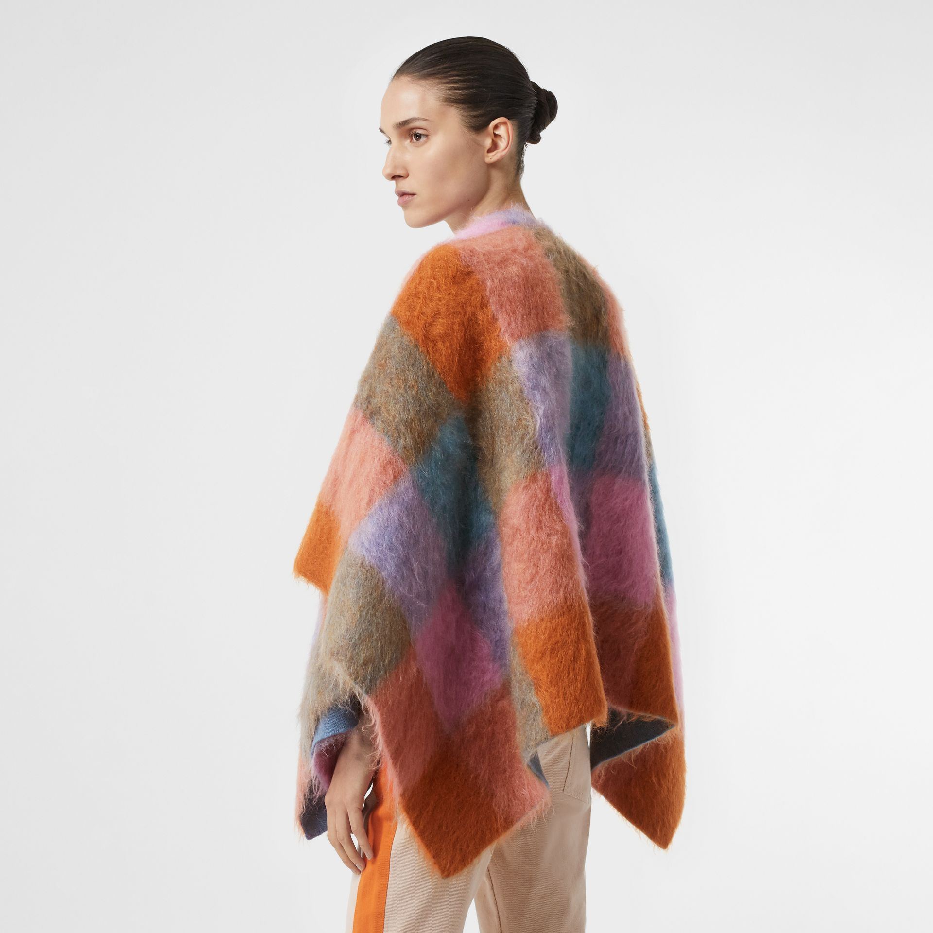 Patchwork Mohair Blend Cape in Apricot Pink - Women | Burberry - gallery image 3
