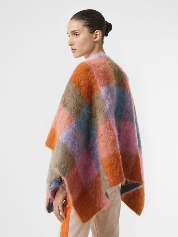 Patchwork Mohair Blend Cape in Apricot Pink - Women | Burberry - cell image 3