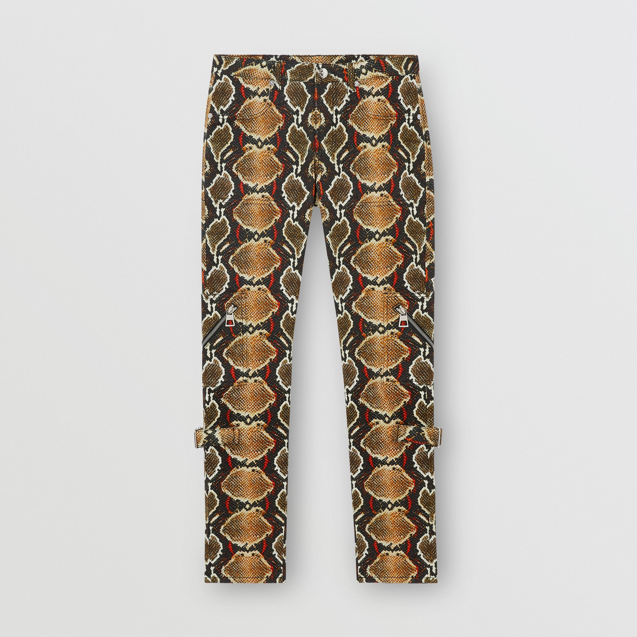 Skinny Fit Python Print Jeans in Soft Cocoa - Women | Burberry - 4