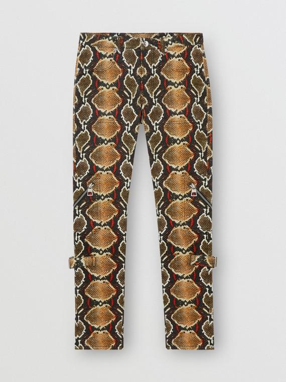 Jeans em corte skinny com estampa de píton (Cacau Suave)
