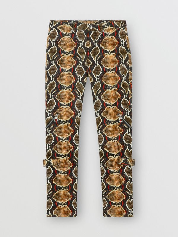 Skinny Fit Python Print Jeans in Soft Cocoa - Women | Burberry - cell image 3