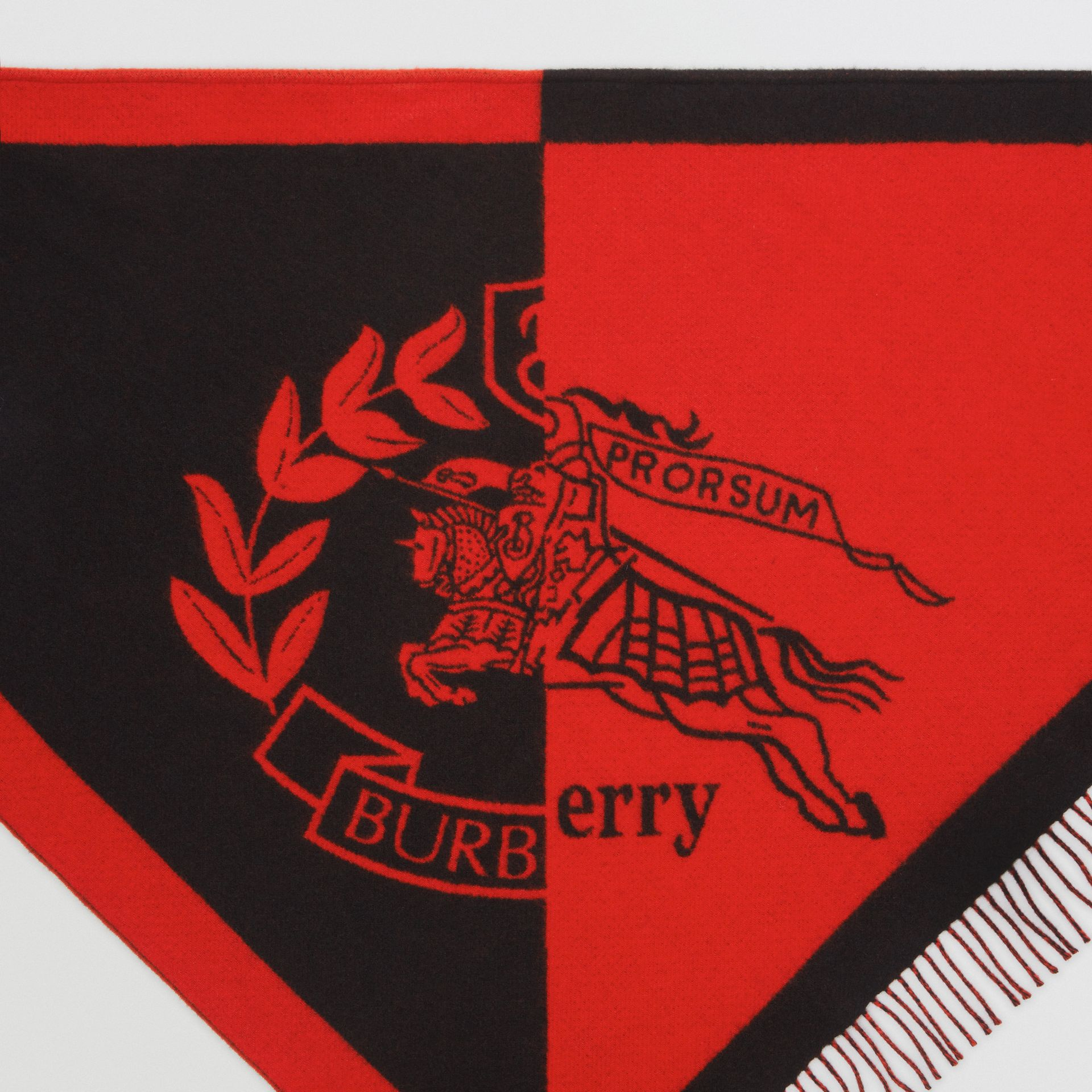 The Burberry Bandana in Crest Detail Wool Cashmere in Bright Orange Red | Burberry - gallery image 1