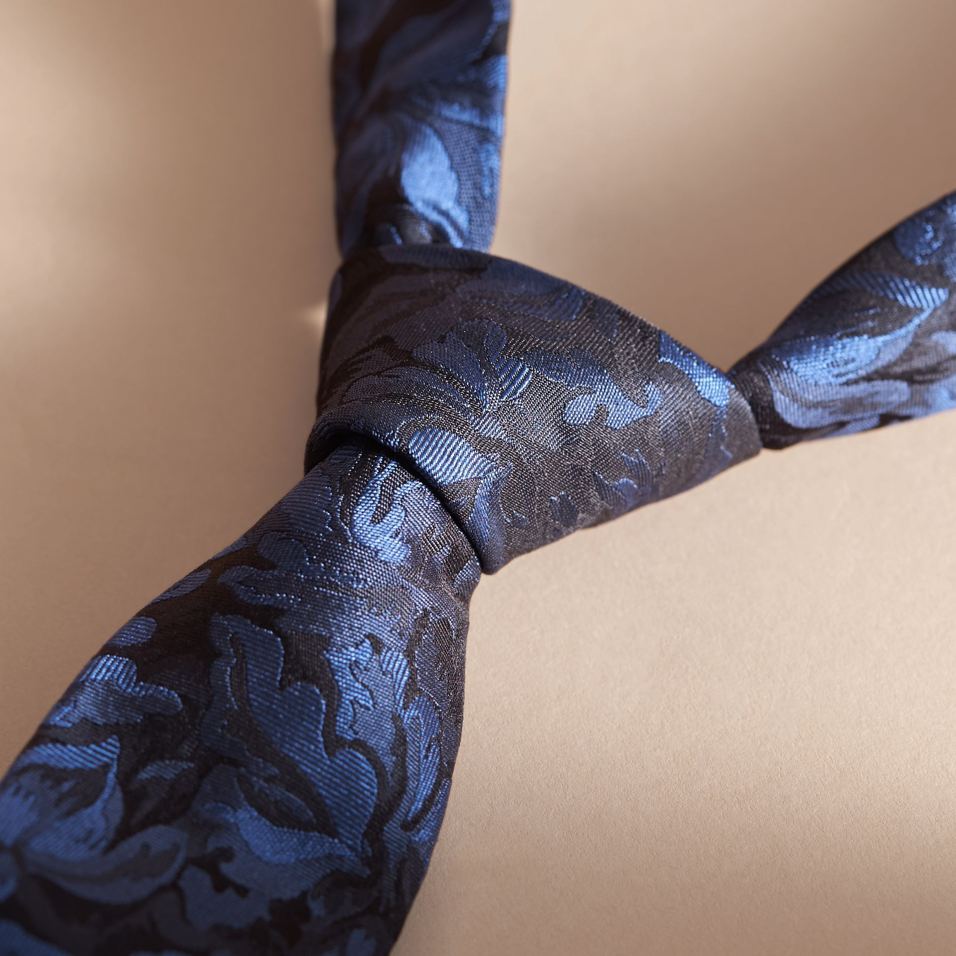 Modern Cut Floral Jacquard Silk Tie Navy - gallery image 2
