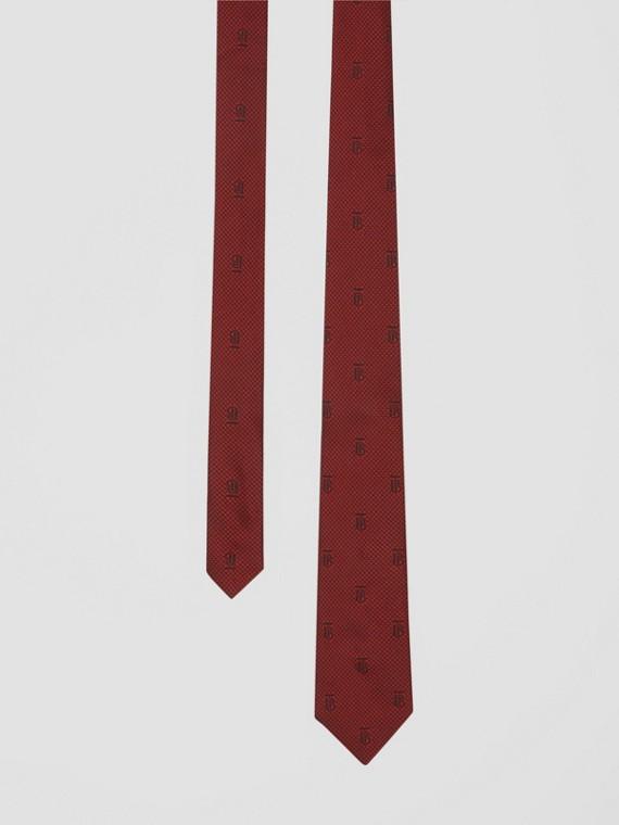 Cravate classique en soie avec check et pied-de-poule (Rouge Parade)
