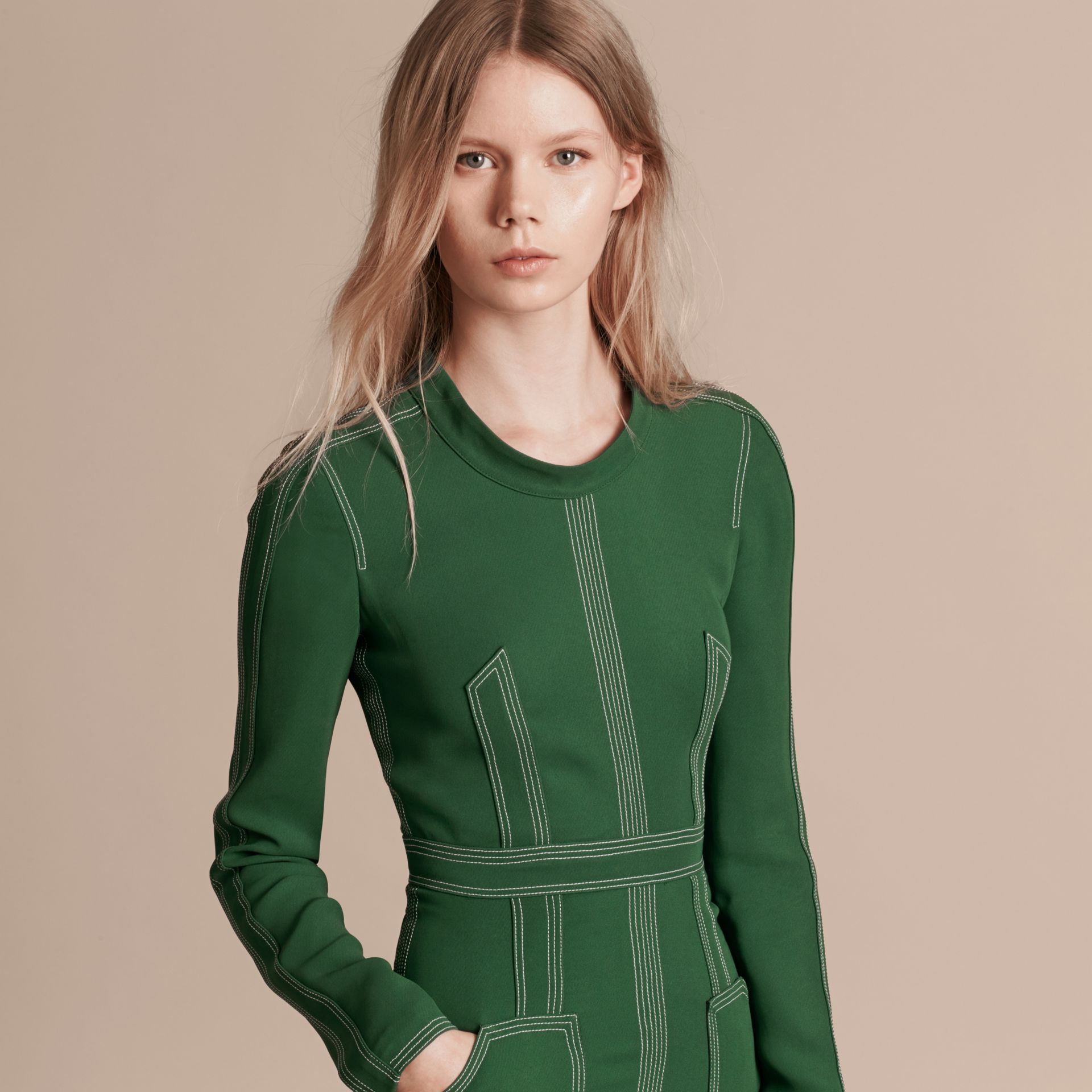 Deep green Topstitch Detail Georgette Dress with Knitted Collar - gallery image 5