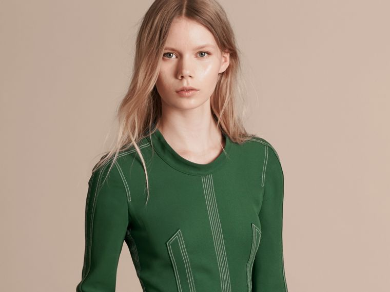 Deep green Topstitch Detail Georgette Dress with Knitted Collar - cell image 4