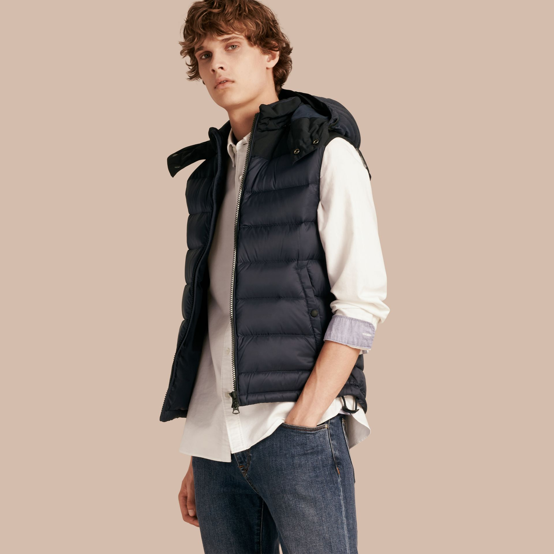 Navy Down-filled Technical Gilet with Detachable Hood Navy - gallery image 1