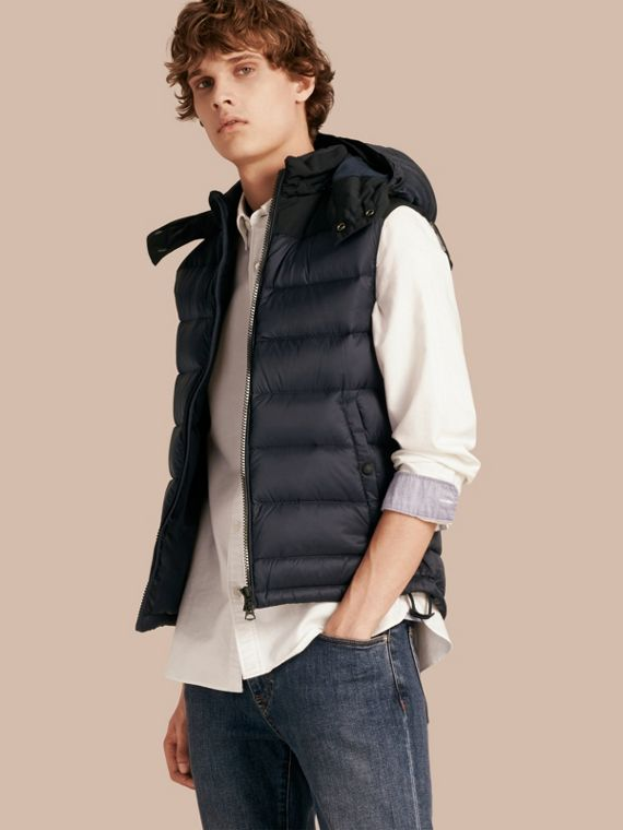 Down-filled Technical Gilet with Detachable Hood Navy