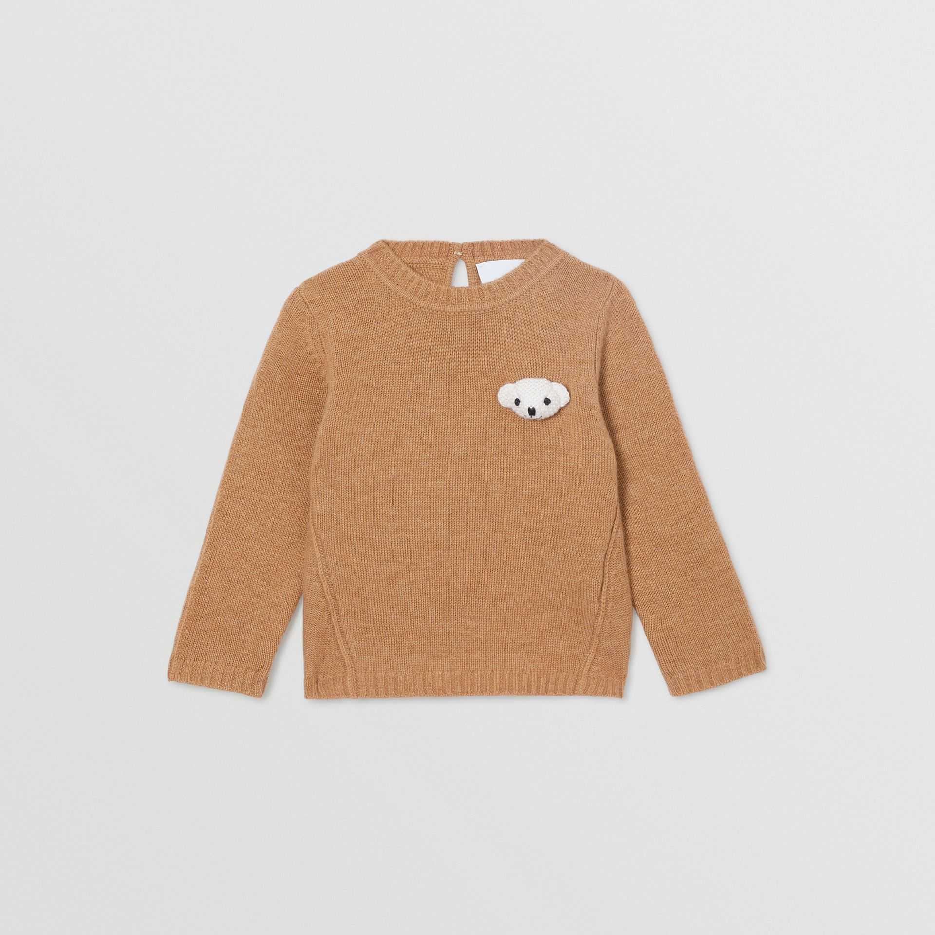 Thomas Bear Detail Wool Cashmere Sweater in Camel - Children | Burberry - gallery image 0