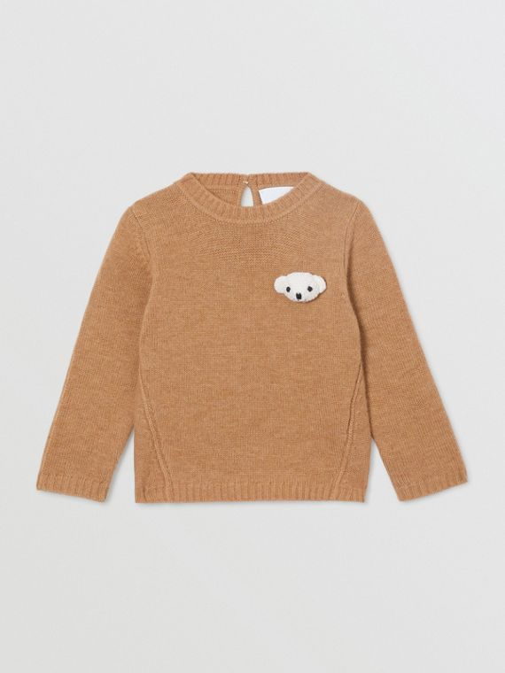 Thomas Bear Detail Wool Cashmere Sweater in Camel