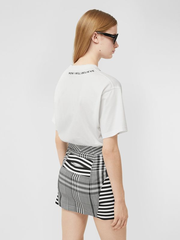 Quote Print Cotton Oversized T-shirt in White - Women | Burberry - cell image 2