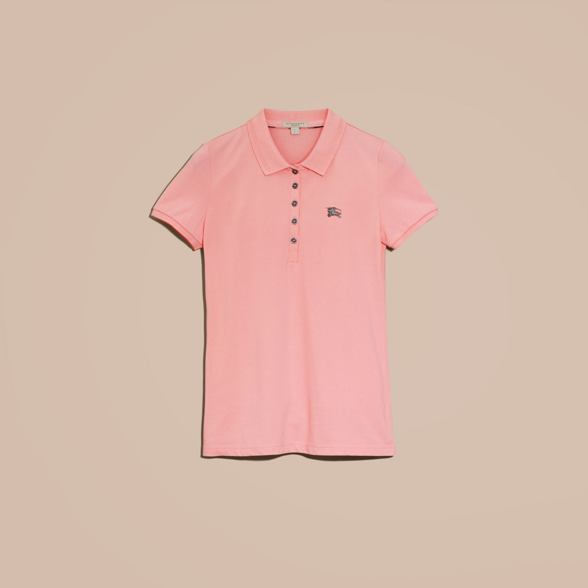 Cotton Piqué Polo Shirt in Carnation Pink - gallery image 4