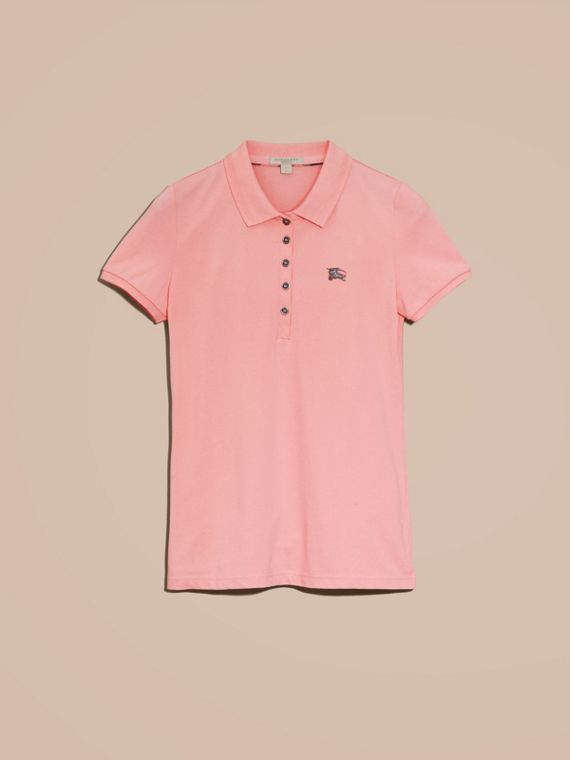 Cotton Piqué Polo Shirt in Carnation Pink - cell image 3