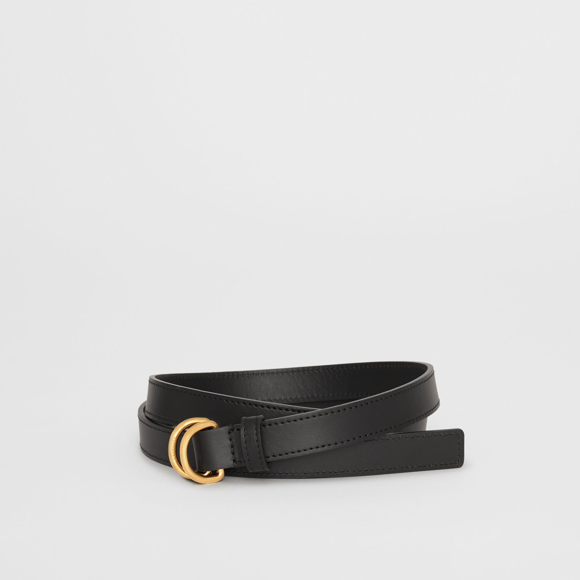 Slim Leather Double D-ring Belt in Black - Women | Burberry Canada - gallery image 0