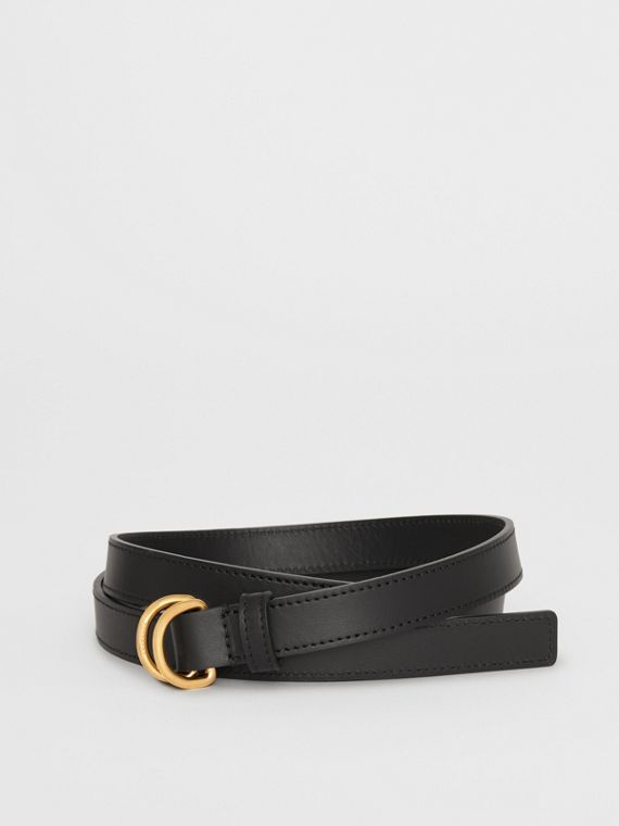 Slim Leather Double D-ring Belt in Black