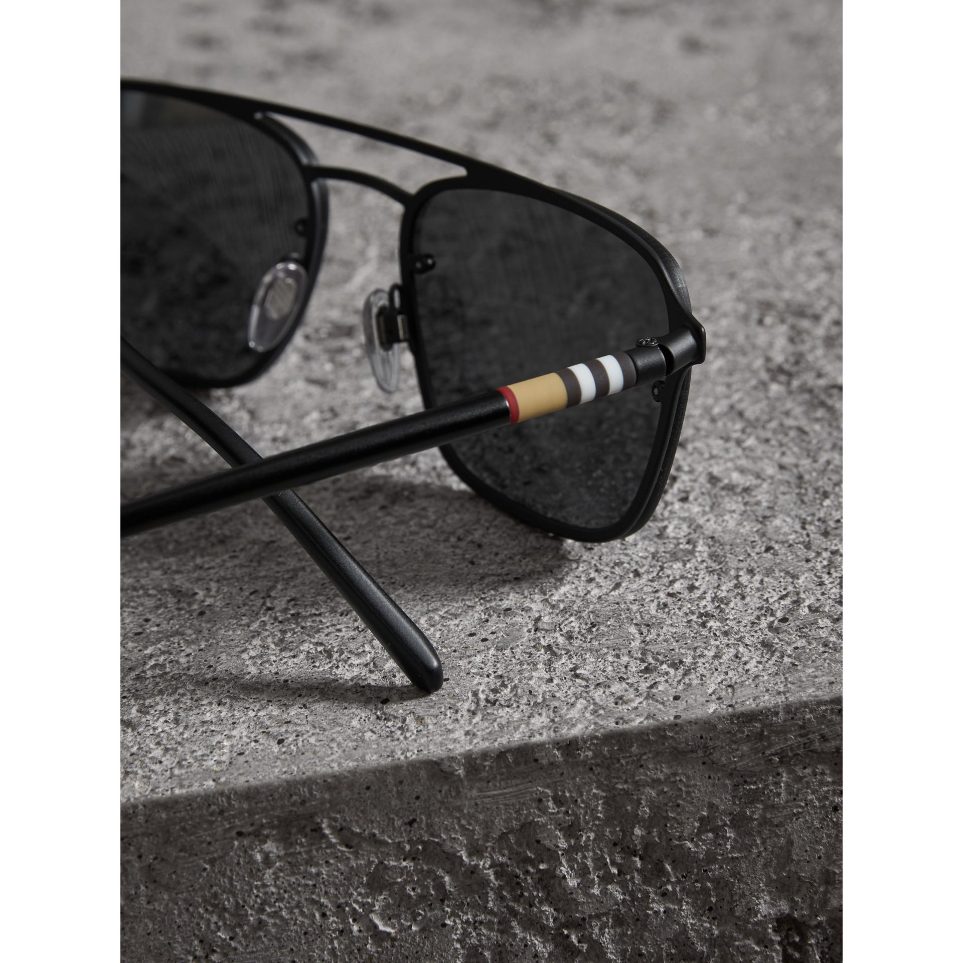 Square Frame Rubberised Metal Sunglasses in Black/grey - Men | Burberry Singapore - gallery image 1