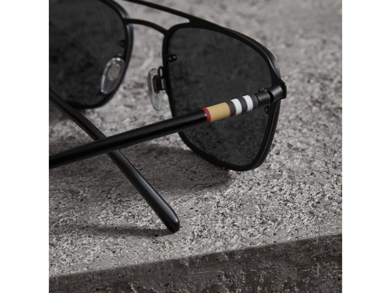 Square Frame Rubberised Metal Sunglasses in Black/grey - Men | Burberry Singapore - cell image 1