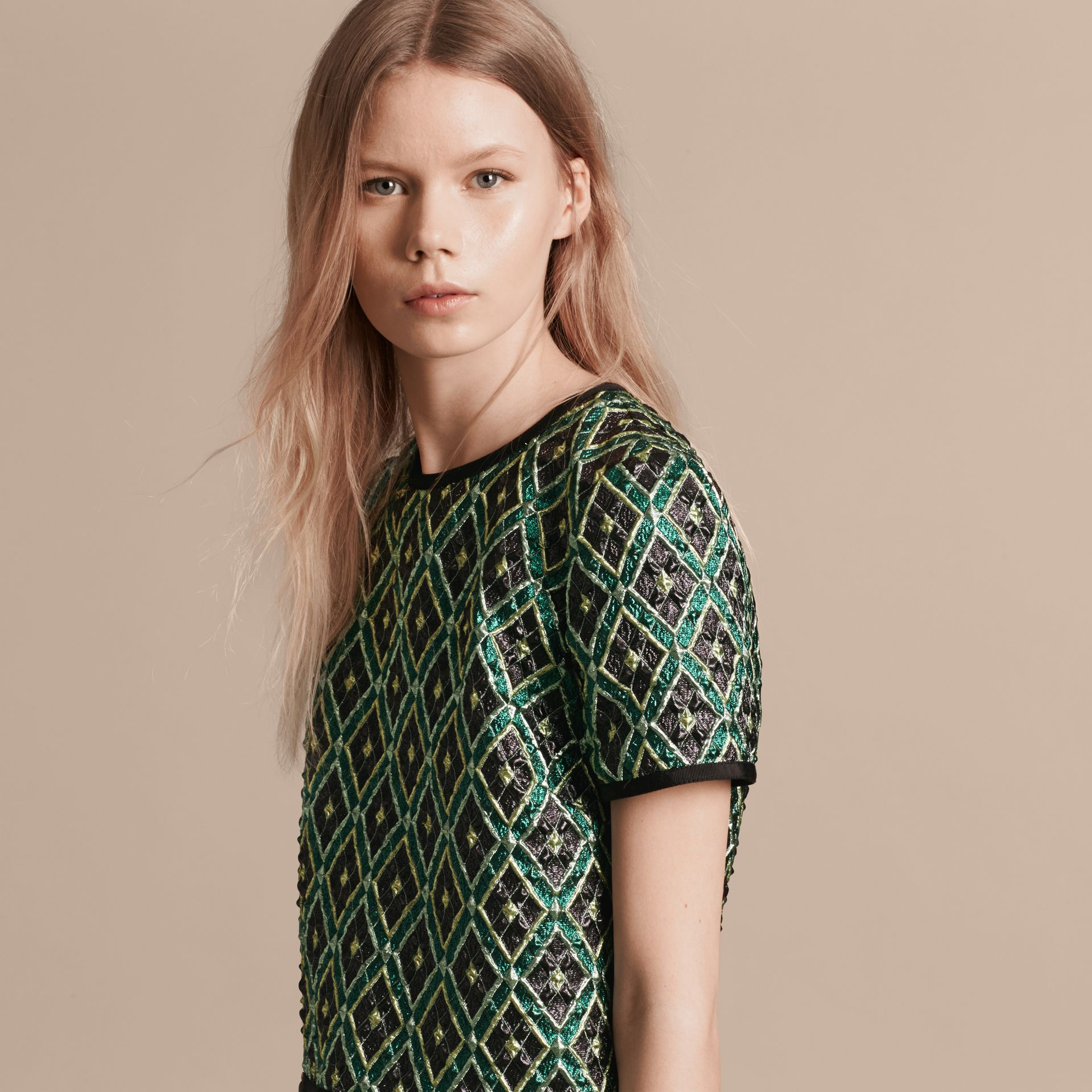 Deep green Patchwork Check Jacquard Dress - gallery image 6