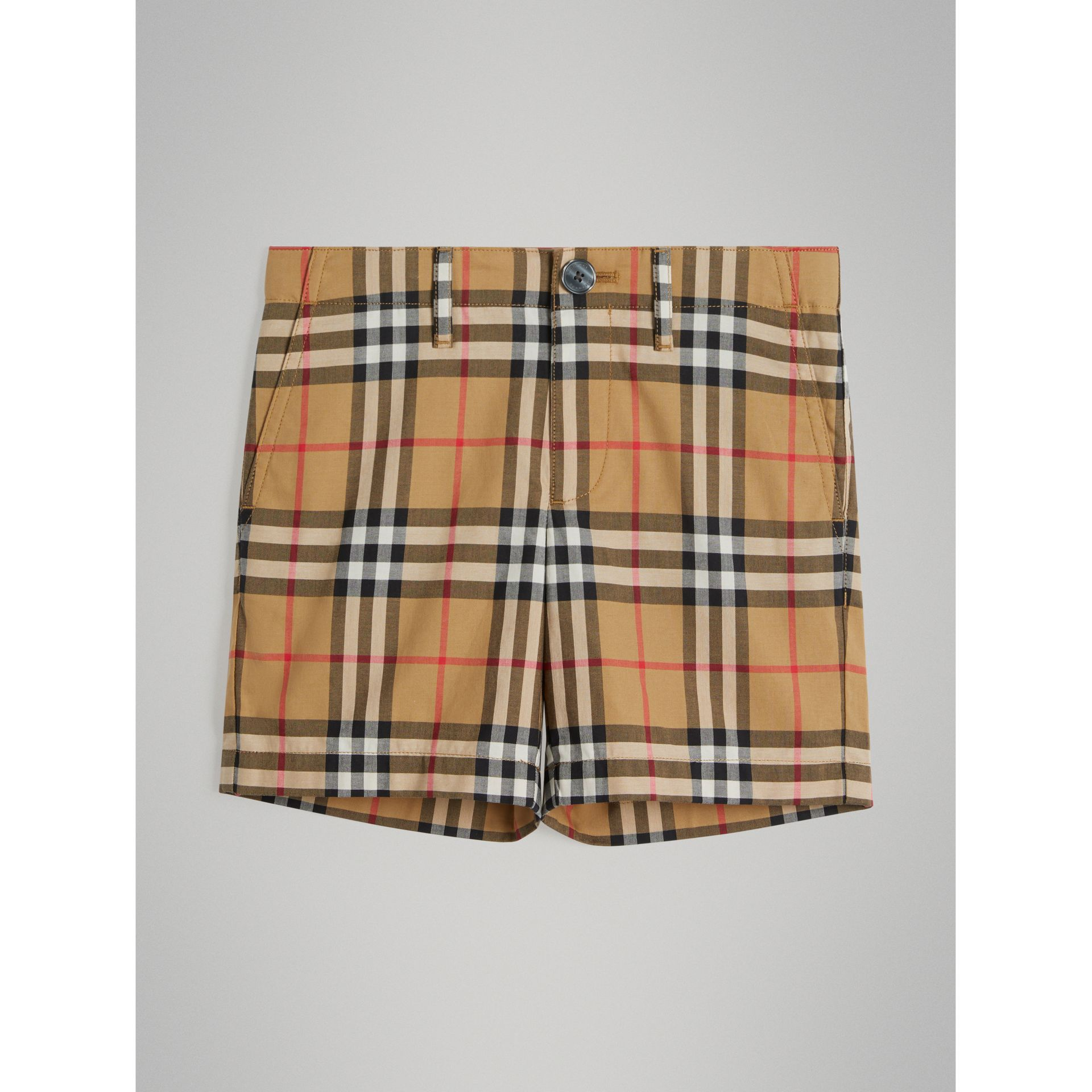 Vintage Check Cotton Tailored Shorts in Antique Yellow - Boy | Burberry - gallery image 0