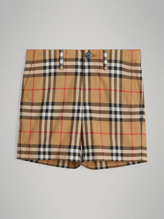 Vintage Check Cotton Tailored Shorts in Antique Yellow