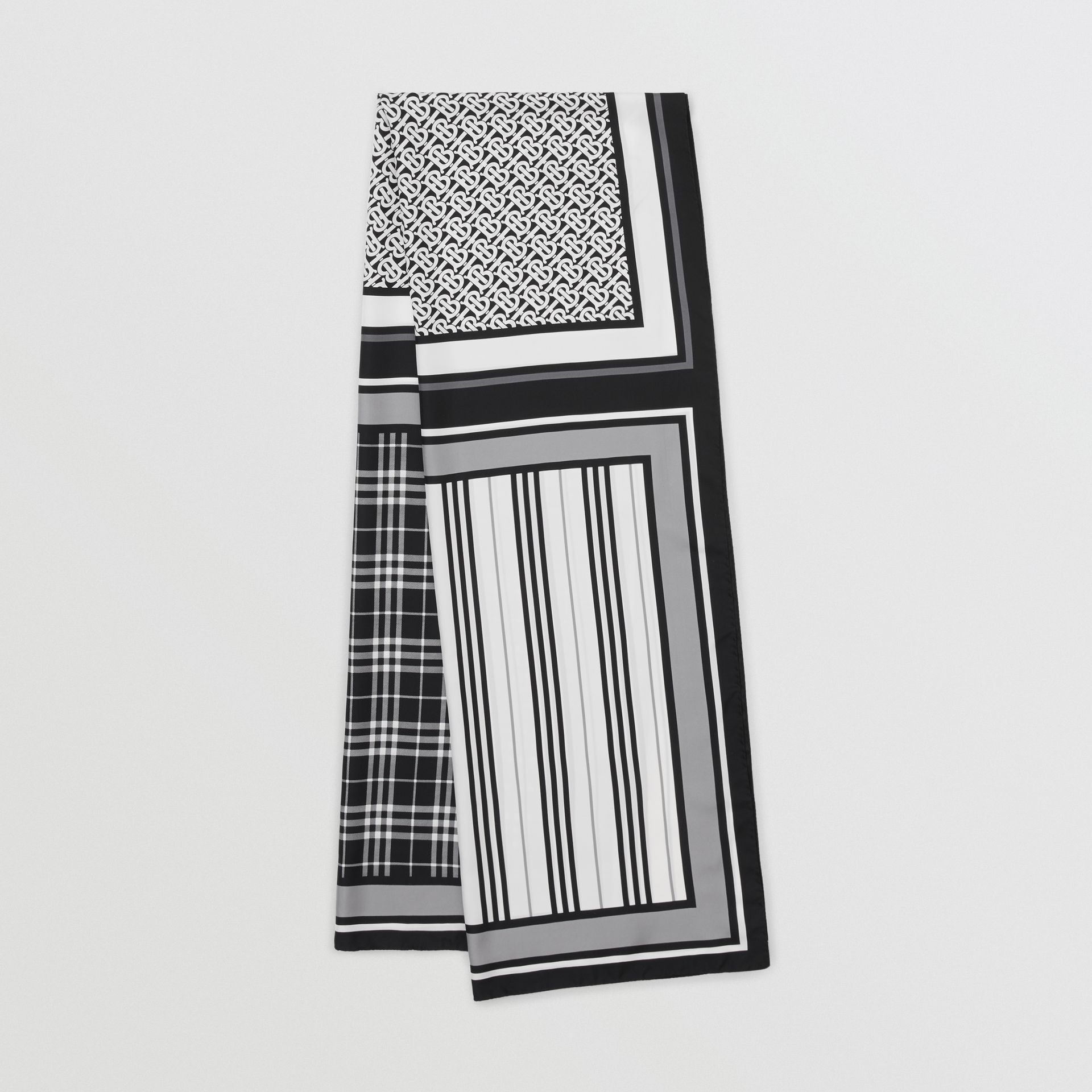 Monogram, Icon Stripe and Check Print Silk Scarf in Monochrome | Burberry - gallery image 0