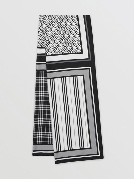 モノグラム アイコンストライプ&チェックプリント シルクスカーフ (モノクローム)