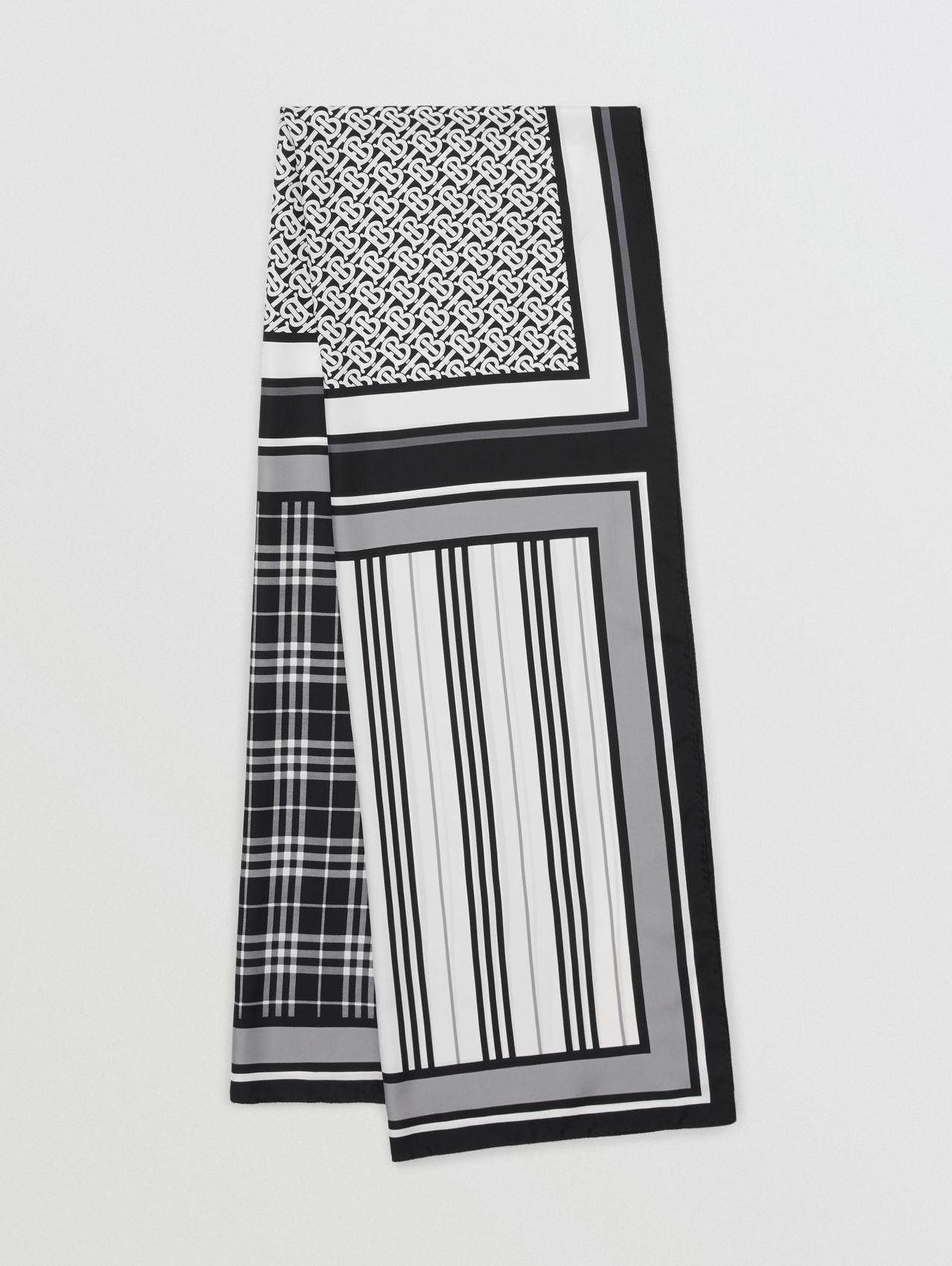 Monogram, Icon Stripe and Check Print Silk Scarf (Monochrome)