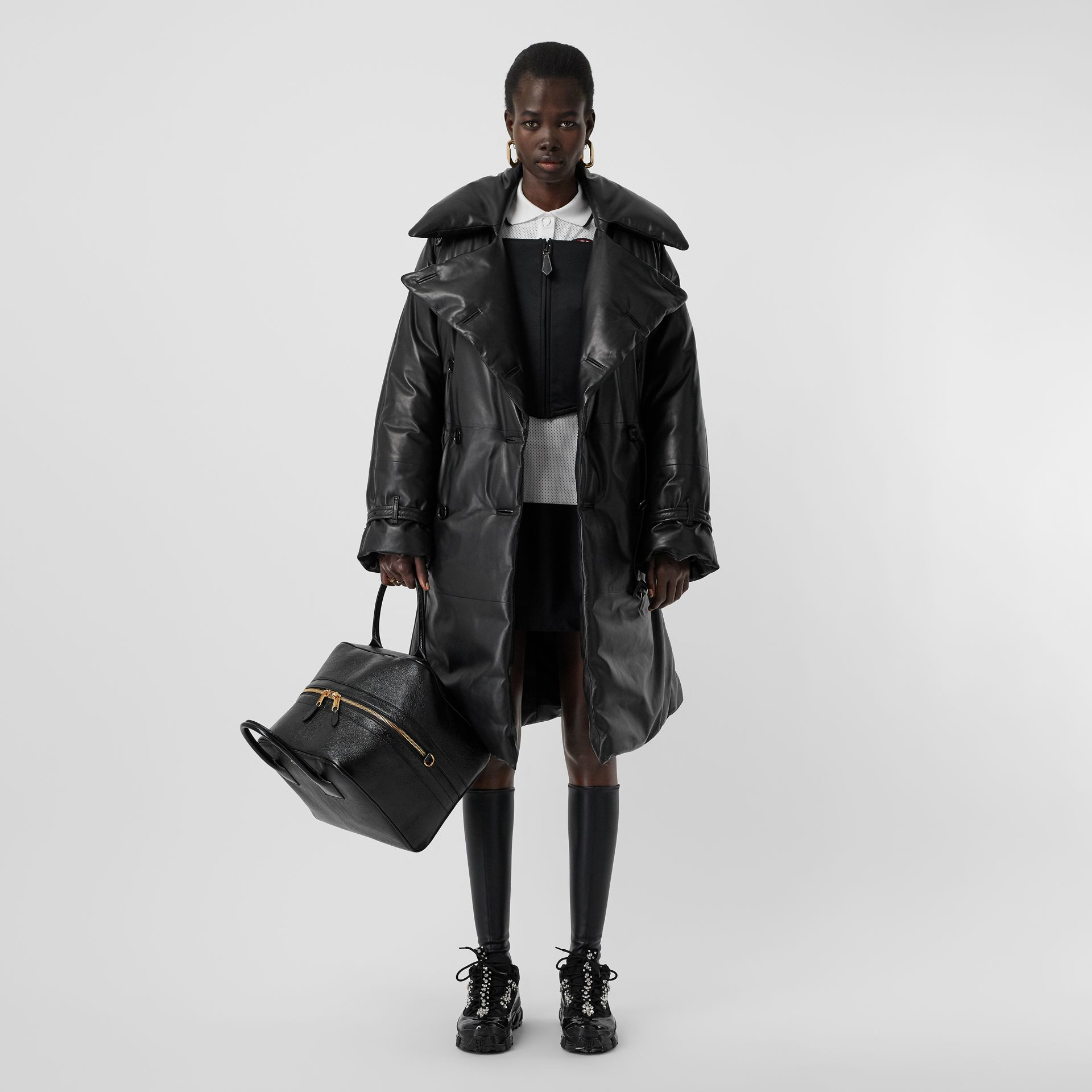 Lambskin Down-filled Oversized Trench Coat in Black - Women | Burberry - gallery image 0