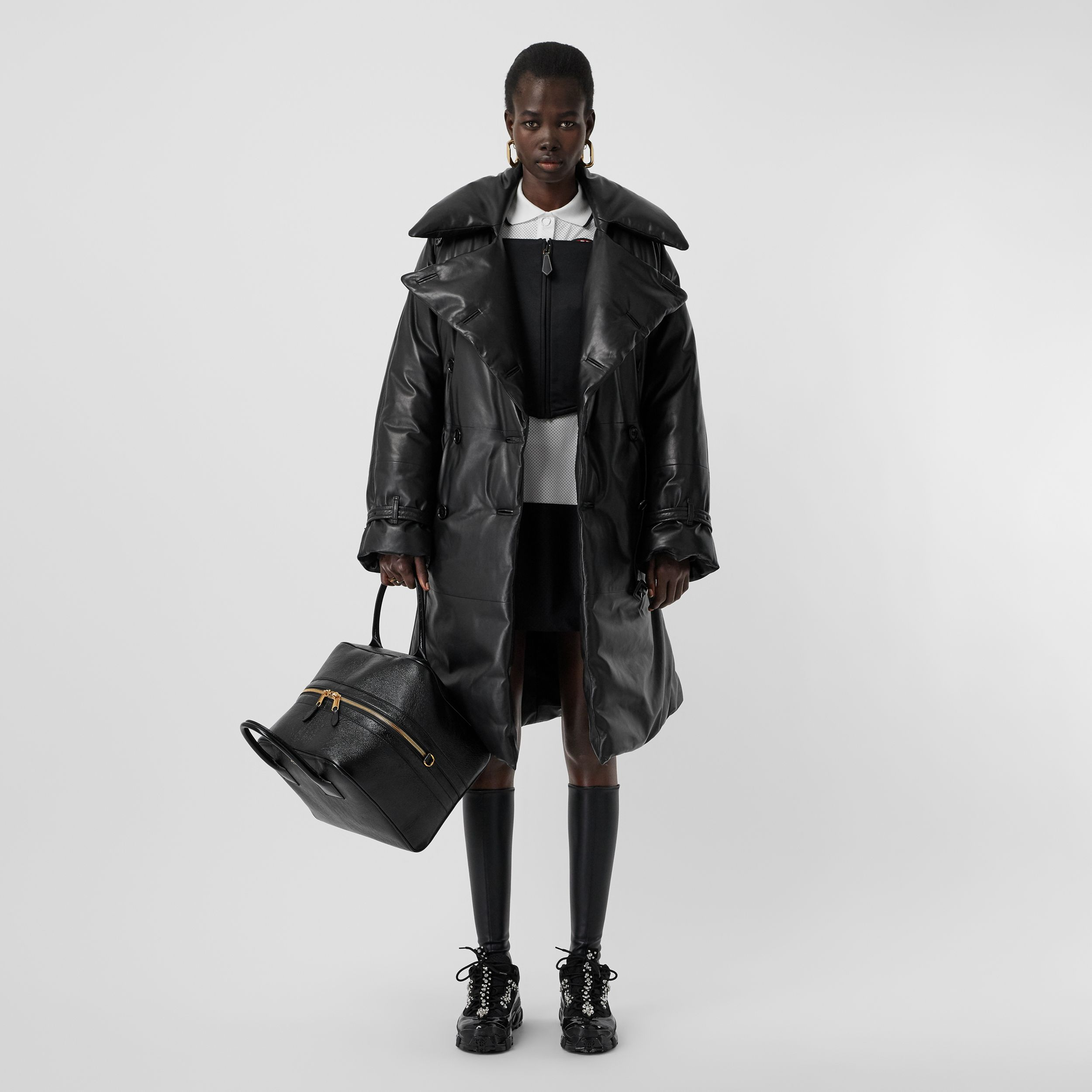 Lambskin Down-filled Oversized Trench Coat in Black - Women | Burberry - 1