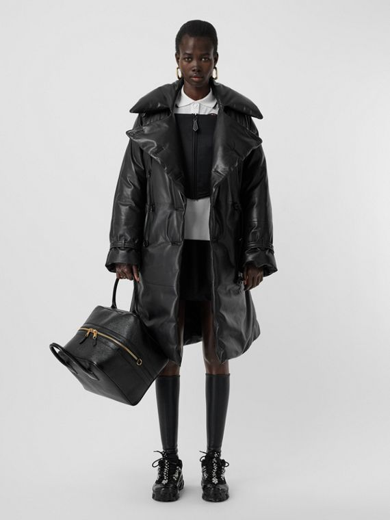 Lambskin Down-filled Oversized Trench Coat in Black