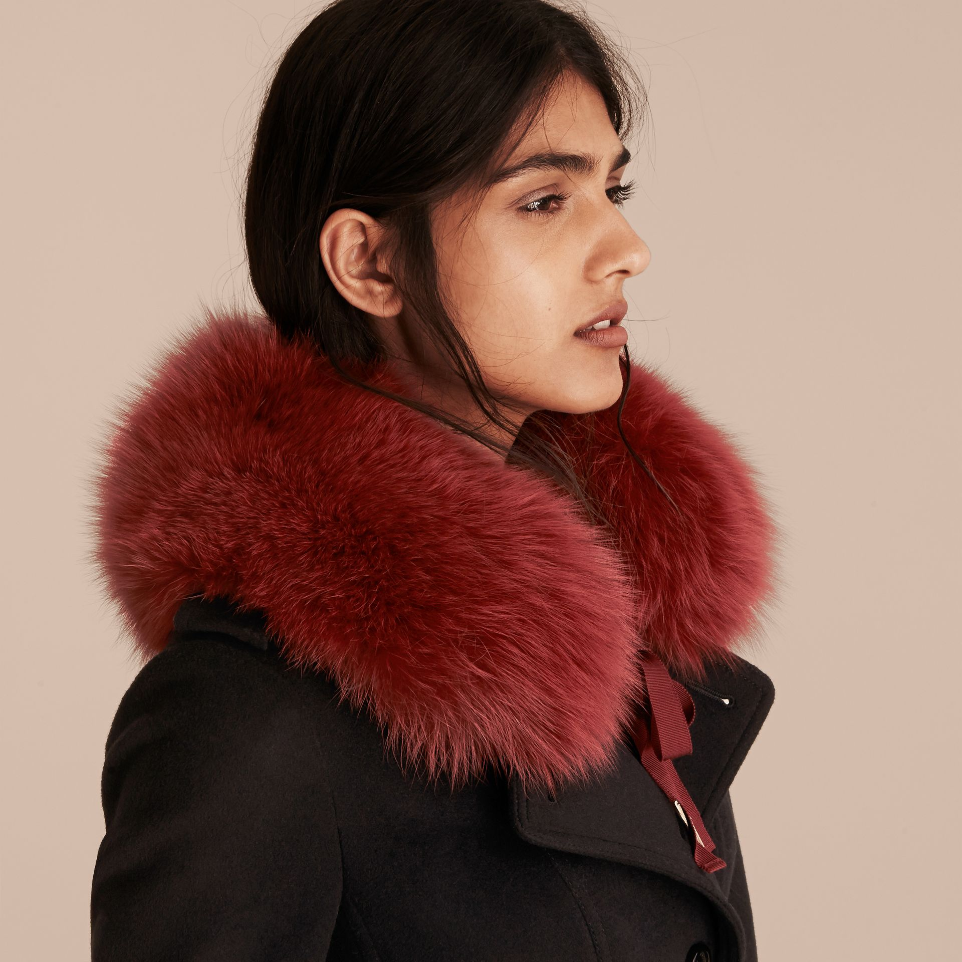 Parade red check Fox Fur Collar with Check Cashmere Lining Parade Red - gallery image 3