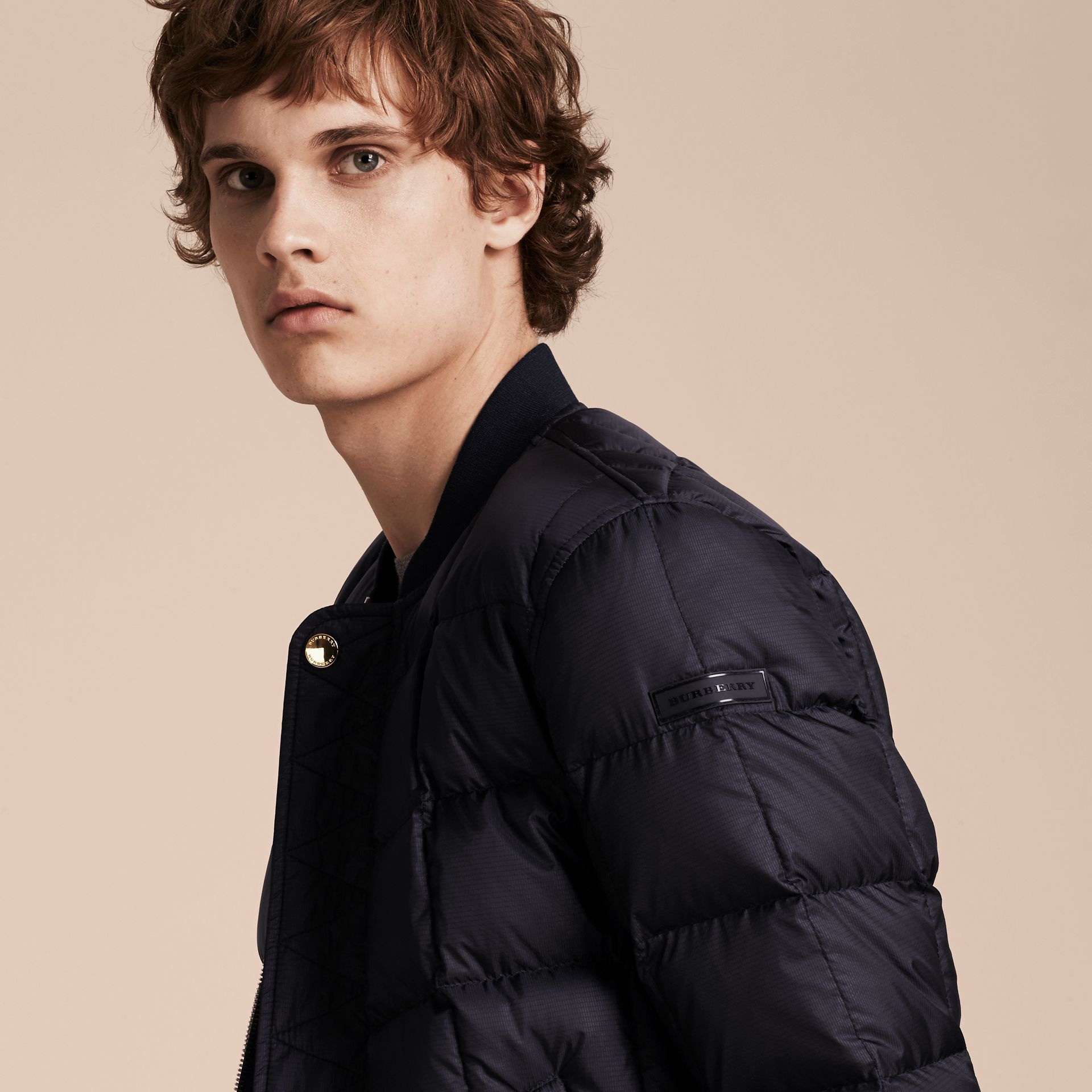 Navy Reversible Down-filled Bomber Jacket - gallery image 4