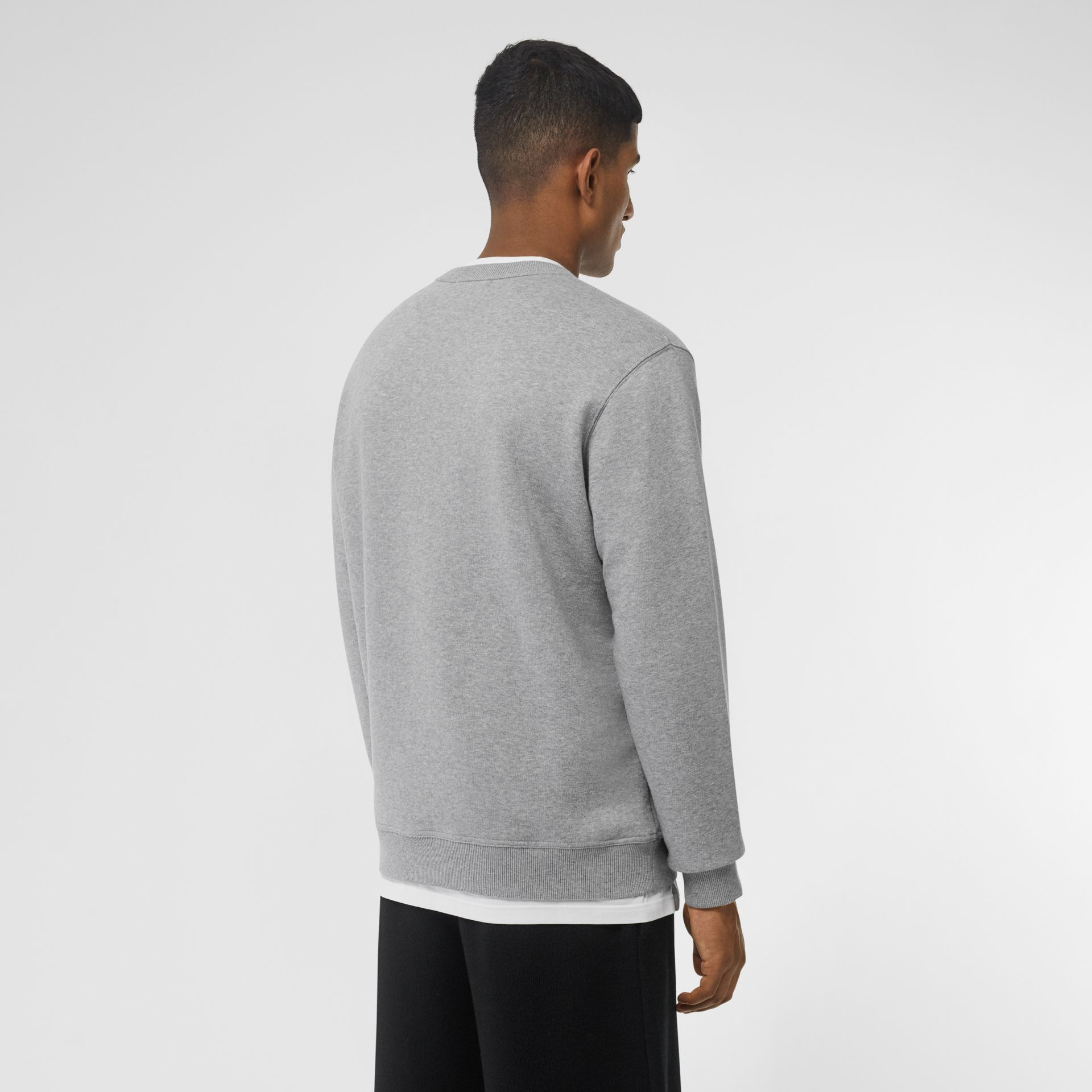 Logo Print Cotton Sweatshirt in Pale Grey Melange - Men | Burberry Singapore - gallery image 2