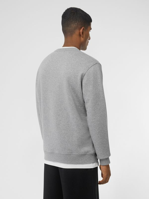 Logo Print Cotton Sweatshirt in Pale Grey Melange - Men | Burberry Singapore - cell image 2