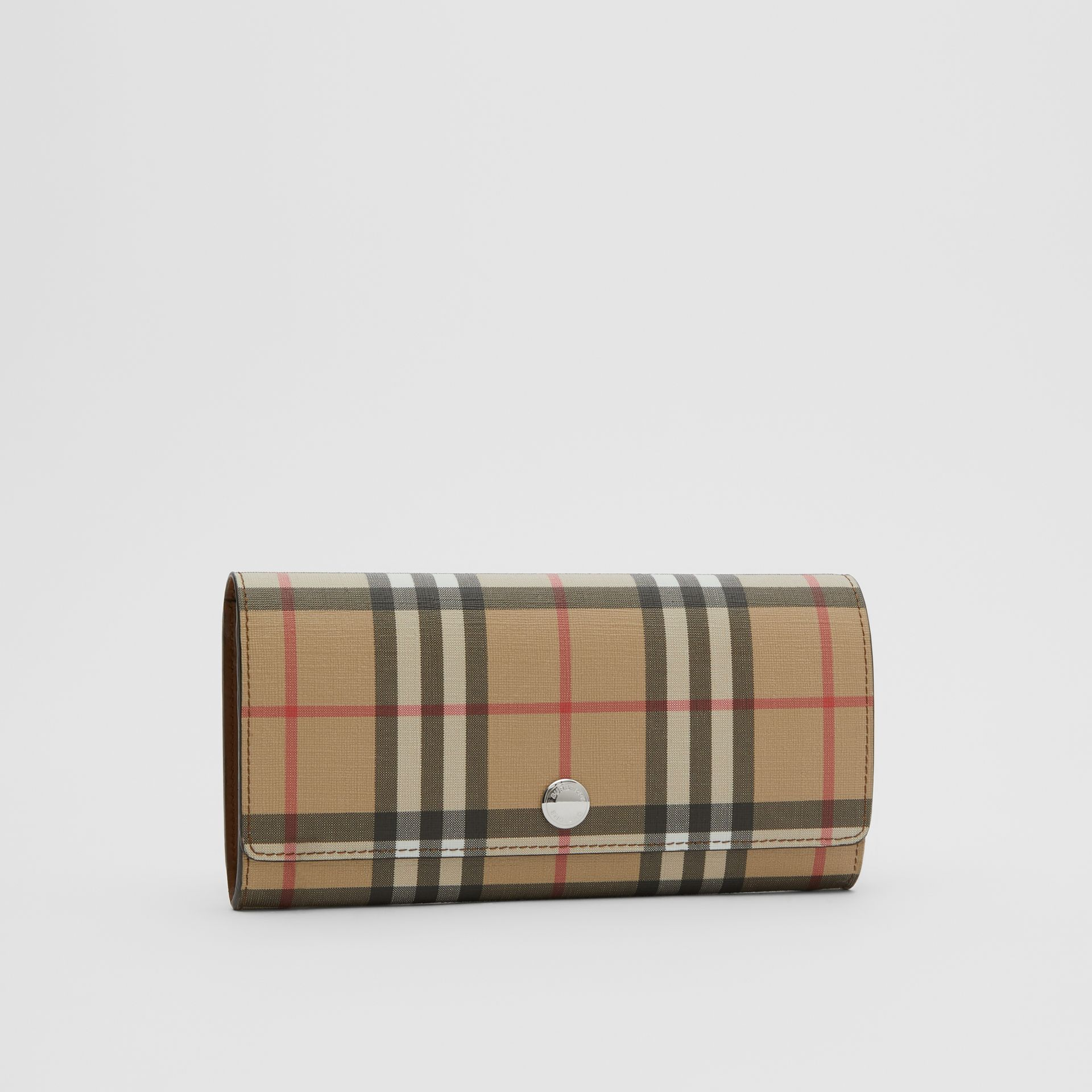 Vintage Check E-canvas Continental Wallet in Malt Brown - Women | Burberry - gallery image 4
