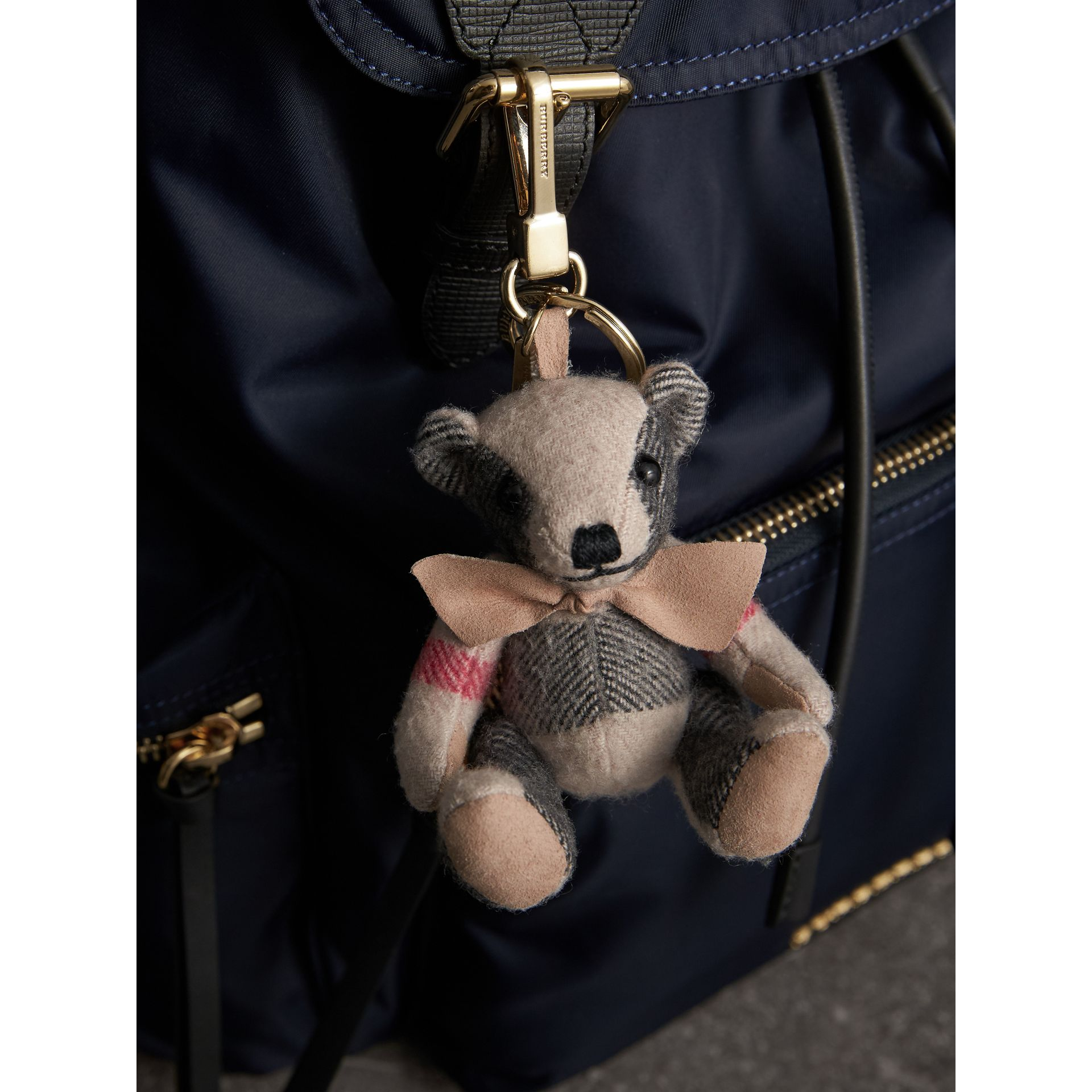 Thomas Bear Charm in Check Cashmere in Stone | Burberry Singapore - gallery image 3