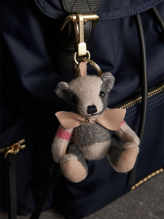 Thomas Bear Charm in Check Cashmere in Stone | Burberry Singapore - cell image 2