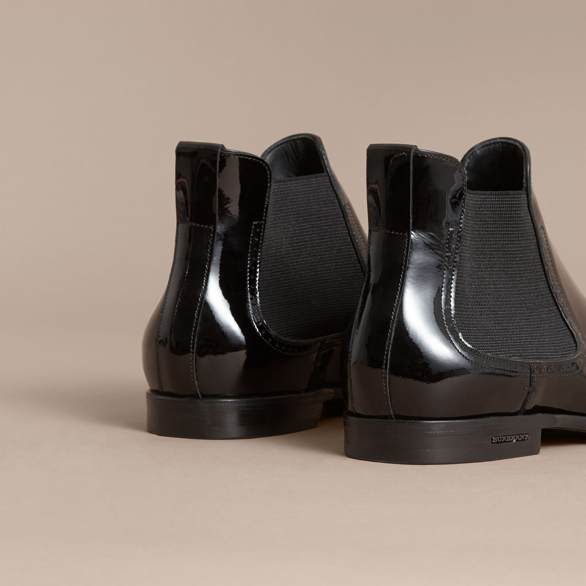 Polished Leather Chelsea Boots in Black - Men | Burberry - gallery image 3