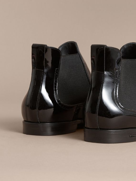Polished Leather Chelsea Boots in Black - Men | Burberry Australia - cell image 3