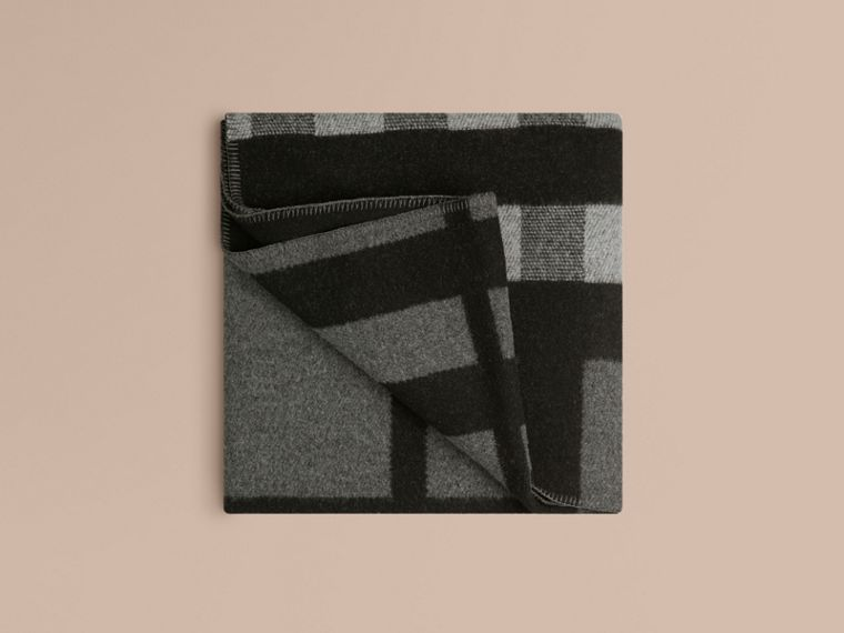 Check Wool Cashmere Blanket in Dark Grey - cell image 1