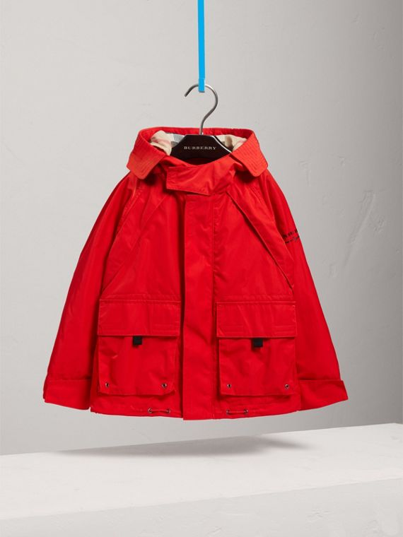 Hooded Shape-memory Taffeta Field Jacket in Bright Orange Red