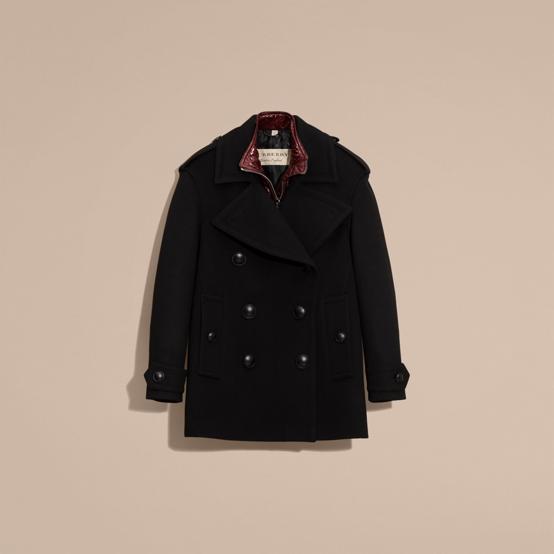 Black Wool Cashmere Pea Coat with Detachable Warmer - gallery image 4