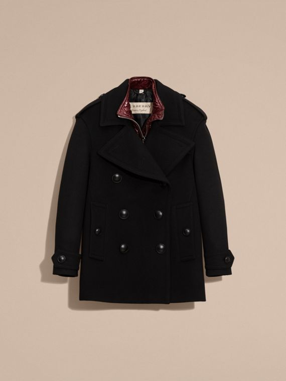 Wool Cashmere Pea Coat with Detachable Warmer - cell image 3