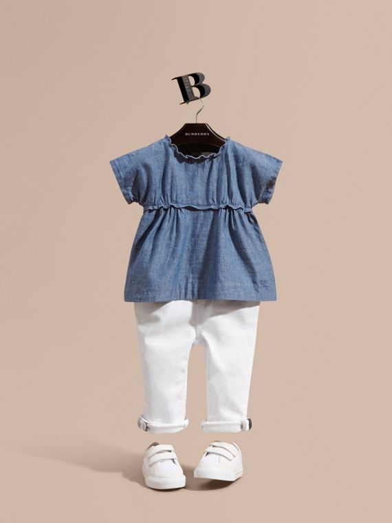 Ruffle Detail Cotton Chambray Top