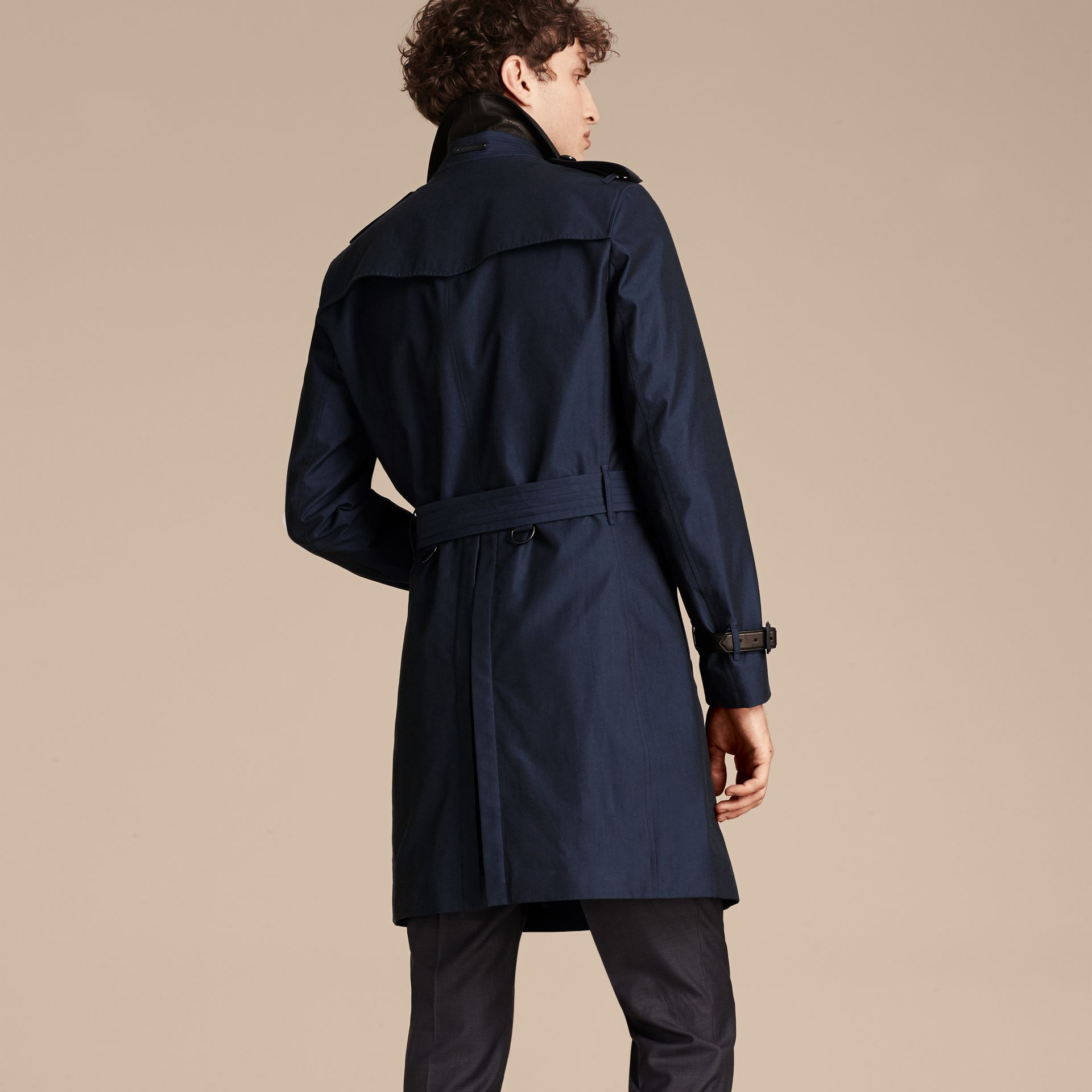 Flint blue Leather Detail Cotton Gabardine Trench Coat - gallery image 3
