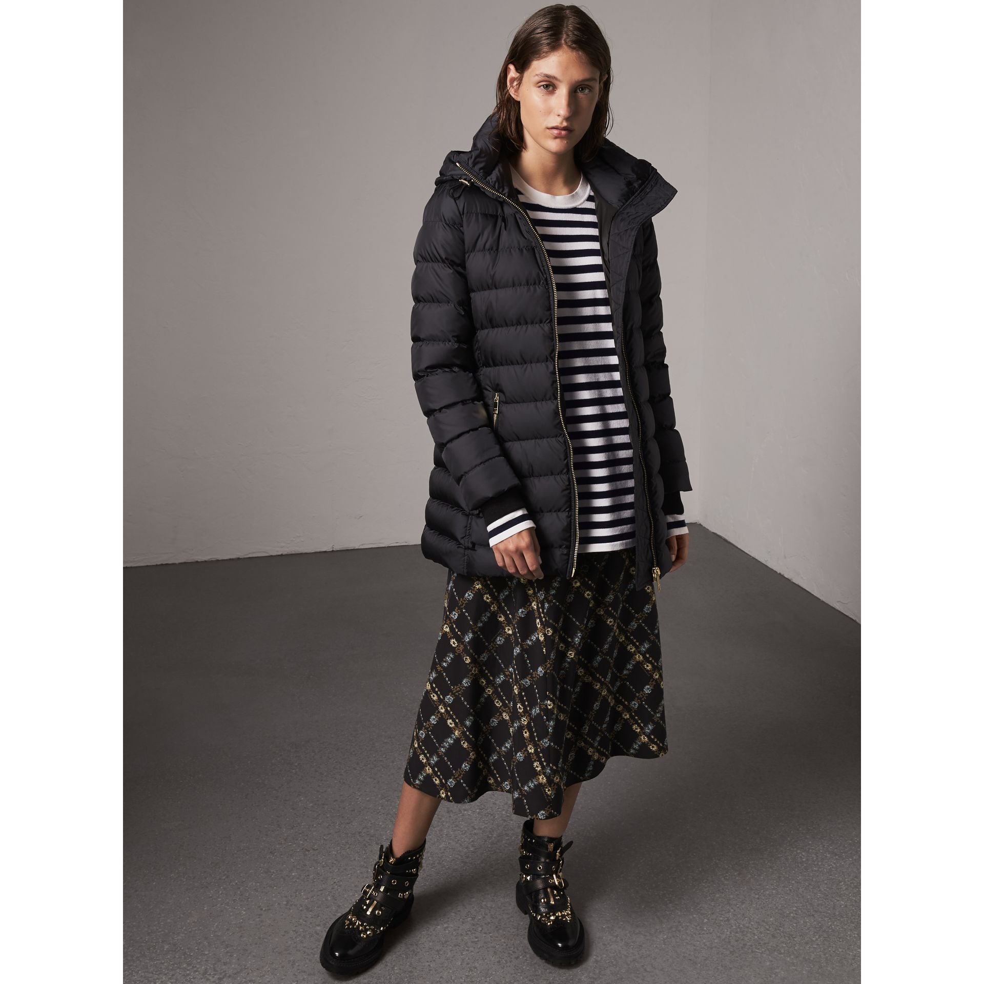 Hooded Down-filled Puffer Jacket in Navy - Women | Burberry Australia - gallery image 0