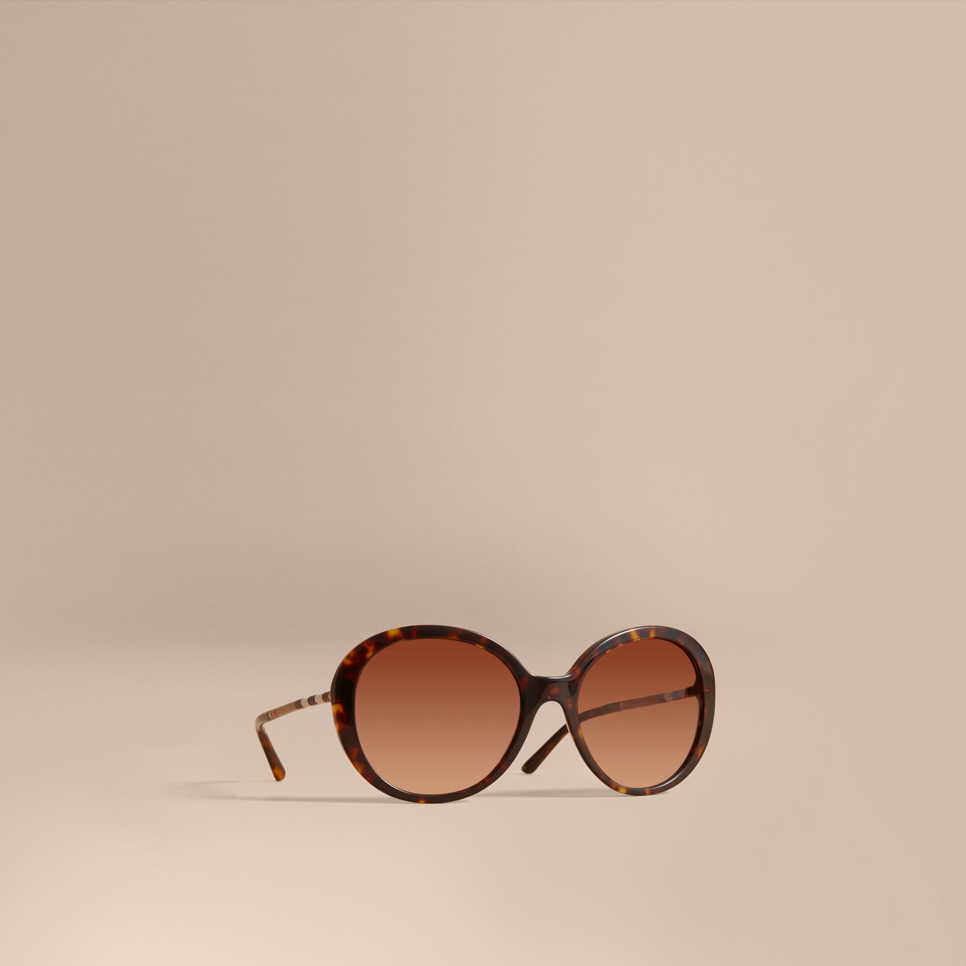 Check Detail Round Frame Sunglasses in Tortoise Shell - Women | Burberry Singapore - gallery image 1