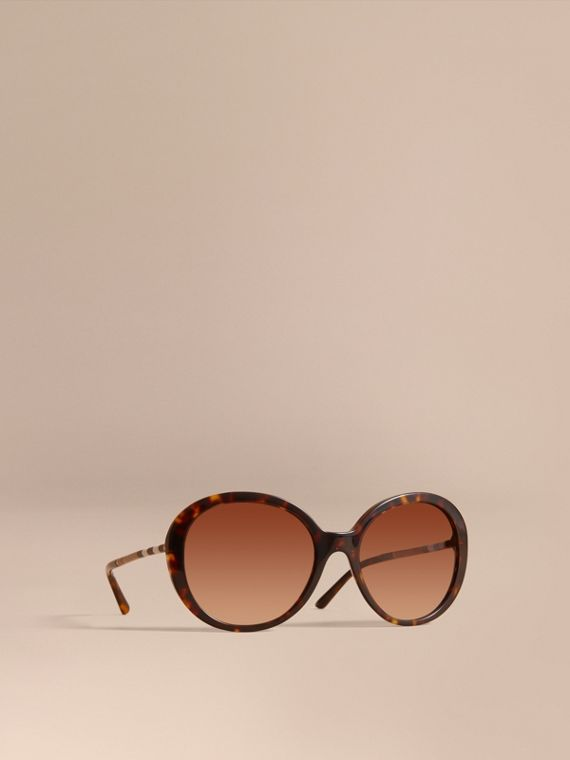 Check Detail Round Frame Sunglasses in Tortoise Shell - Women | Burberry