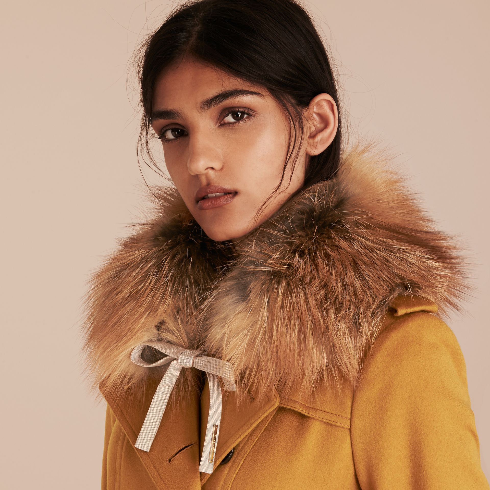 Camel Fox Fur Collar with Check Cashmere Lining Camel - gallery image 3