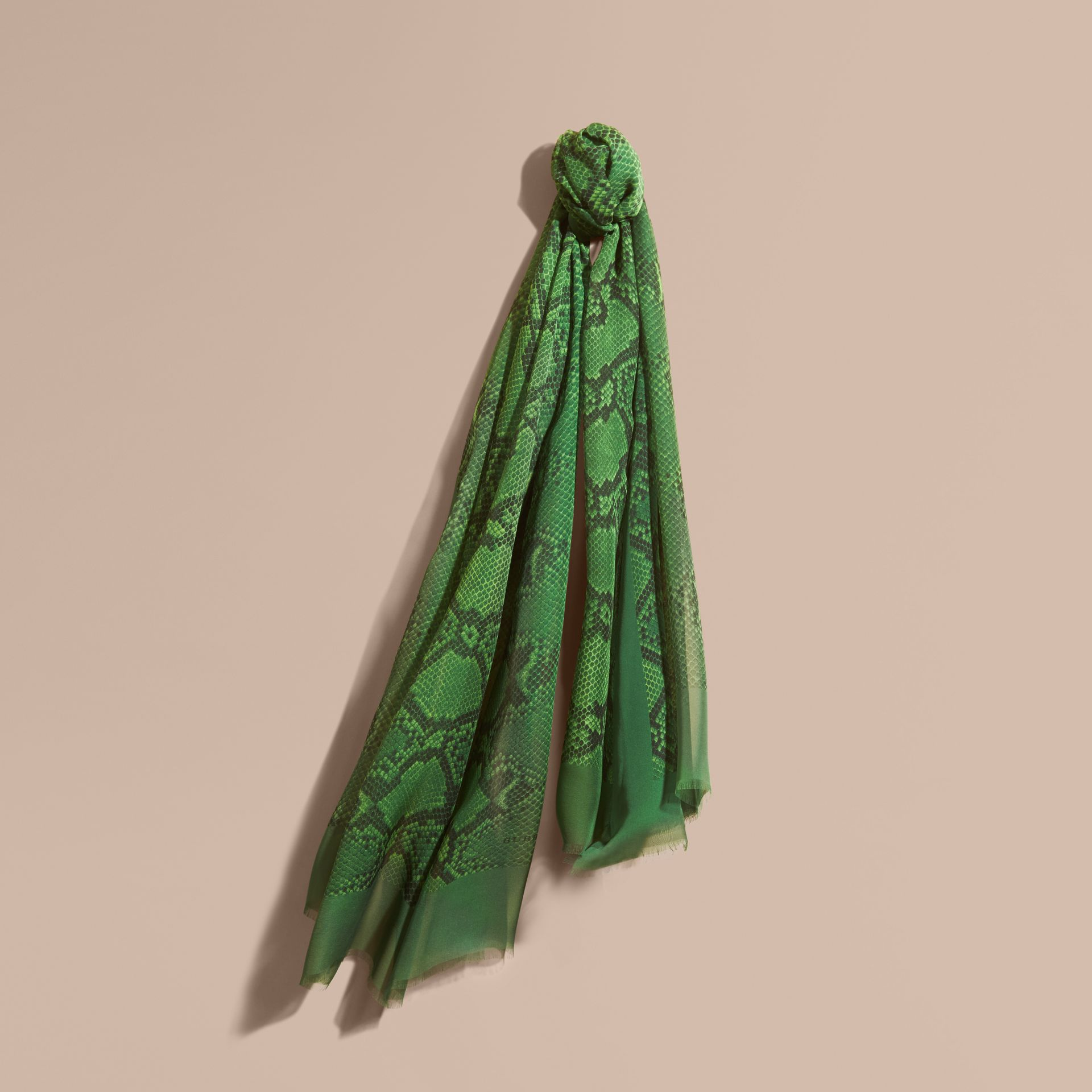 Bright green Python Print Silk Scarf Bright Green - gallery image 1